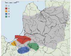 Mapa 1. Ziemie bałtyjskie w późnym OWL. 1 – max zasięg, 2 – kultura Dollkeim-Kovrovo, 3 – grupa elbląska, 4 – grupa olsztyńska, 5 – kultura sudowska (Bitner-Wróblewska 2010, ryc. 6).