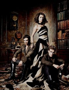 Promo Shot For The Vampires Elena, Damon and Stefan  | Elena love the Gown she's Wearing