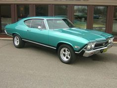 I LOVE the color: 1968 Chevrolet Chevelle coupe SS / Super Sport with polished American Racing Torq Thrust II wheels.