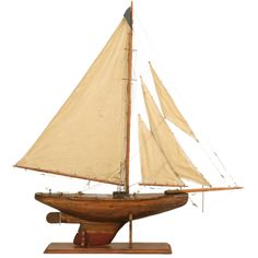 Stellar Antique English Gentleman's Pond Yacht on Stand