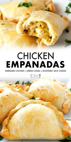An easy recipe for baked Chicken Empanadas with a golden crust and a flavorful filling of shredded chicken, canned green chiles, and Monterey Jack cheese. Best Appetizer Recipes, Meat Appetizers, Mexican Food Recipes, Mexican Food Appetizers, Chicken Empanada Recipe, Baked Chicken Recipes, Empanadas Filling Recipe, Baked Empanadas, Mexican Empanadas