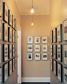 Many times the hallway of the home is ignored when decorating. Think of the hallway as the connector to every room in your home. It is the place to Br House, Display Family Photos, Display Pictures, Long Hallway, Upstairs Hallway, Dark Hallway, Hallway Art, Small Hallways, Hallway Decorating
