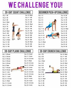 30 Day Squat, Push-Up, Plank & Crunch Challenge