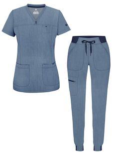 Scrubs Outfit, Scrubs Uniform, Stylish Scrubs, Skinny Joggers, Medical Scrubs, Scrub Sets, Professional Look, V Neck Tops, Pants