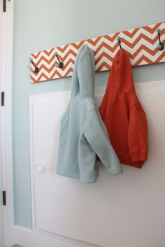 DIY: chevron hook rack - hooks from Hob Lob but they look just like the ones from Anthropologie I've been wanting to buy in girls' room!