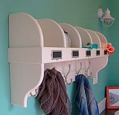 Cubby Coat Hook Shelf - like this design to. Somewhere to put gloves, scraves, coats, hats & all sorts of bits & pieces Coat Hook Shelf, Wall Shelf With Hooks, Coat Hooks, Wall Shelves, Coat And Hat Rack, Diy Coat Rack, Coat Storage, Banquettes, Contemporary Shelving
