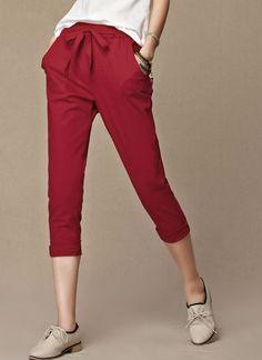 Loose Linen Capri Pants