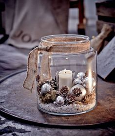 Windlicht, Glas Vorderansicht - All For Remodeling İdeas Rustic Christmas, Christmas Home, Christmas Ornaments, Vintage Christmas, Christmas Candles, Holiday Crafts, Holiday Decor, Winter Home Decor, 242