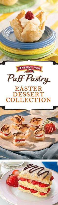 Puff Pastry Easter Dessert Recipe Collection. Whether you're hosting a simple brunch or an afternoon feast, get inspired with this list of our favorite Easter recipes. Featuring bright spring ingredients and seasonal flavors in recipes like lush Lemon Cheesecake Tarts, sweet Strawberry Napoleons or decadent Chocolate Berry Twists. Make sure to bring a basket of these treats to the table!