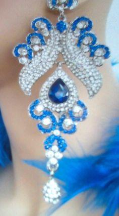 Royal Blue Chandelier earrings by beaqueenbee on Etsy