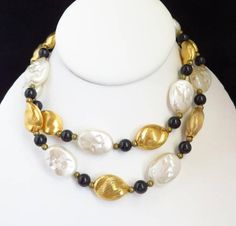 Vintage Glass Necklace Tricolor Black White Gold 29 Inch