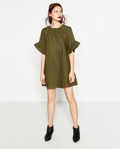 Image 1 of JUMPSUIT DRESS WITH FRILL ON SLEEVES from Zara
