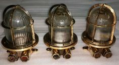 OLD ANTIQUE SALVAGE BRASS NAUTICAL SHIP WALL LIGHT LOT OF 3 PCS