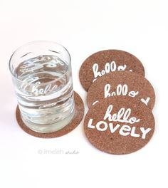 """Painted Cork Coaster Set of 4 """"Hello Collection"""" by limefishshop on Etsy"""