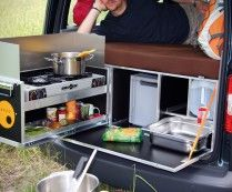 QUQUQ Campingbox: Car Camper Conversion Kit - Now you can convert any ordinary van into a full-fledged camper van complete with a functional kitchen set, storage area, and even a sleeping quarters.