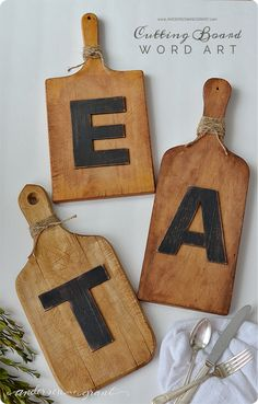 DIY Home Decor | Upcycle thrift store cutting boards into Pottery Barn inspired letter art for your kitchen or dining area!