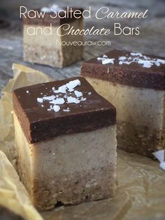 Raw Salted Caramel and Chocolate Bars  http://nouveauraw.com/raw-recipies/ice-creams/raw-salted-caramel-and-chocolate-bars/