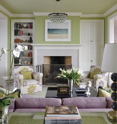 Green and purple living room. Pretty!