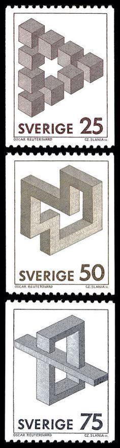 Set of 3 postage stamps from Sweden designed by Oscar Reutersvärd in 1982