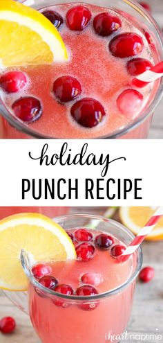 holiday drinks Simple Holiday Punch Recipe - Made with pineapple, cranberry and orange juice! Easy to make and such a delicious combination! Christmas Party Food, Christmas Drinks, Holiday Cocktails, Christmas Punch, Simple Christmas, Holiday Dinner, Nutrition Education, Sport Nutrition, Nutrition Plate