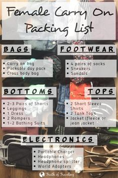 There are so many different kinds of clothes for girls and it can be so hard to narrow it down to fit in a small bag. Here is my complete female packing list in just a carry on to make it as easy as possible! Business Trip Packing, Packing List For Vacation, Packing Checklist, Business Travel, Packing Hacks, Vacation Travel, Packing Outfits, What To Pack For Vacation, Weekend Packing