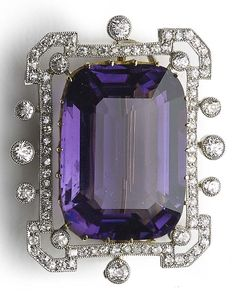nice An Edwardian amethyst and diamond brooch, circa 1910. Set to the centre with a...