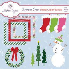 Christmas Cheer Digital Clipart Bundle Instant by ShaleceElynne, $3.99
