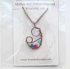 Mother and Child Abstract Birthstone Necklace by HomeBabyCrafts