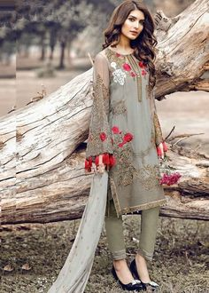 gray embroidered long sleeves pakistani style salwar suit