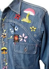 If you grew up in the 70's it was a big thing to own your own jean jacket or jean shirt.  The popular thing to do was to embroider on and add your own creativity of things you liked on it.  Blue Jeans were also embroidered.  I always wondered what happened to mine.