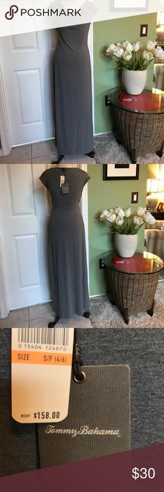 Tommy Bahama maxi dress gray new with tags Tommy Bahama maxi dress casual medium gray new with tags size small petite. 96% viscose 4% Spandex Tommy Bahama Dresses Maxi