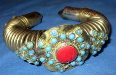 "Bracelet Carnelian Cuff Afghan Kuchi Tribal Alpaca Silver 3"" dia $ 42.00"