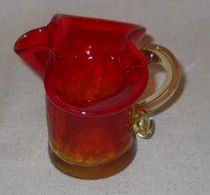 Kanawha Amberina Crackle Glass Mini Pitcher Creamer circa 1960's by LovesVintageFinds, $10.00