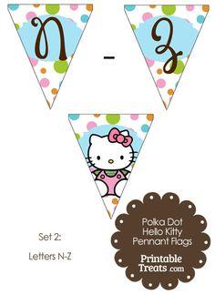 Polka Dot Hello Kitty Flag Letters N-Z from PrintableTreats.com