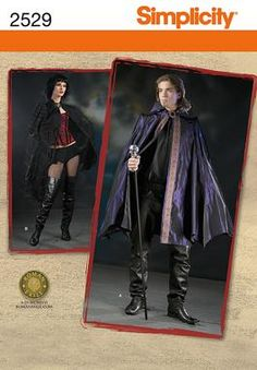 Womens, mens cape Costume Sewing Pattern 2529 Simplicity