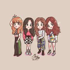 Lisa, Jisoo, Jennie e Rosé. Kpop Drawings, Cartoon Drawings, Easy Drawings, Kawaii Chibi, Cute Chibi, Blackpink Jennie, Girl Cartoon, Cartoon Art, Blank Pink