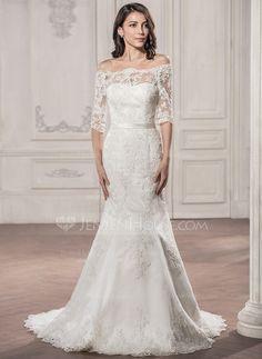 Trumpet/Mermaid Off-the-Shoulder Court Train Lace Wedding Dress (002058786)