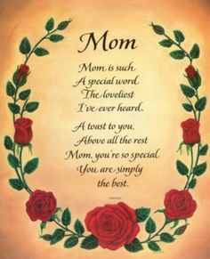 You were and still are ever so special to us Mom. You taught us to live and laugh and to take care of ourselfs. Thank you Mom, xox