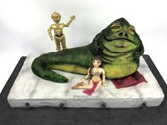 star wars jabba the hutt princess Leia and C3P0 cake