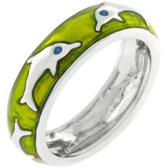 Green Apple Dolphin Enamel Ring