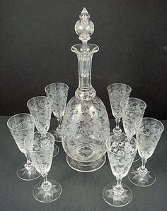 Antique Baccarat Etched Crystal Decanter & Glasses. French, c.1900.