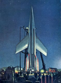 1953 - The Conquest of Space! retro sci-fi rocket artwork by Chelsey Bonestell Cyberpunk, Cosmos, Retro Rocket, Classic Sci Fi, Vintage Space, Science Fiction Art, Sci Fi Movies, Space Movies, To Infinity And Beyond