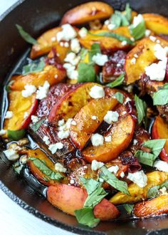 Look at this sizzling skillet of juicy pork chops and caramelized peaches! Both Matt and I decided we would love to have these Skillet Balsamic Pork Chops with Feta and . Balsamic Pork Chops, Peach Pork Chops, Juicy Pork Chops, Pork Chops With Peaches, Easy Pork Chop Recipes, Pork Recipes, Cooking Recipes, Pork Chop Meals, Gourmet