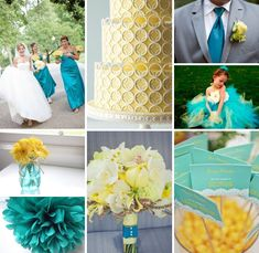 turquoise and yellow wedding ideas | teal and yellow