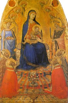 Madonna and Child Enthroned with Angels and Saints   by Ambrogio Lorenzetti
