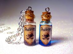 One Poison Glass Bottle Cork Necklace - Poison Bottle Charm - Many Colors - Potion Vial Charm - Liquid Shimmer - Magic Spells - Gothic Skull Magic Bottles, Mini Glass Bottles, Glass Vials, Bottles And Jars, Cork Necklace, Bottle Necklace, Skull Necklace, Blue Necklace, Bottle Jewelry