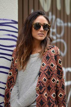 Patterned coat.