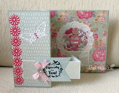 """This is one of my cards made with the brand new Dovecraft """"Painted Blooms"""" collection. I love the muted florals and coordinating patterns..."""
