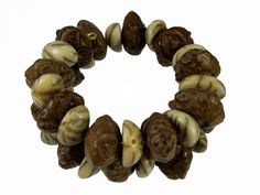 Large Bodhi Seed and Hemisphere Lotus Seed Memory Wire Bracelet #bc249 by CycleofLifeDesign on Etsy