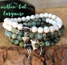 Stunning Turquoise bracelets bring healing, protection and connect you to spirit. This bundle features white Turquoise and African Turquoise adorned with sterling silver Hill Tribe accent pieces and charms. healing jewelry | turquoise bracelet | beach bracelets | summer bracelets | zen jewelz | ZenJen | handcrafted jewelry